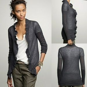 NWOT J.Crew Lumiere Ruffle Button Front Cardigan